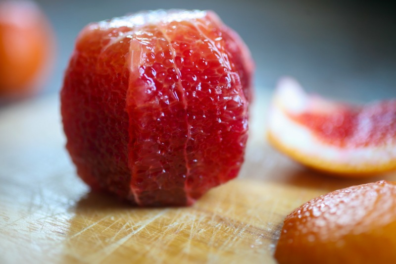 blood orange with peel cut off