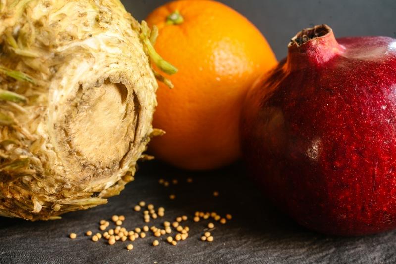 celery root, orange, pomegranate, mustard seeds