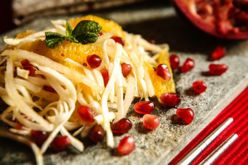 Celery Root Salad with pomegranate and orange