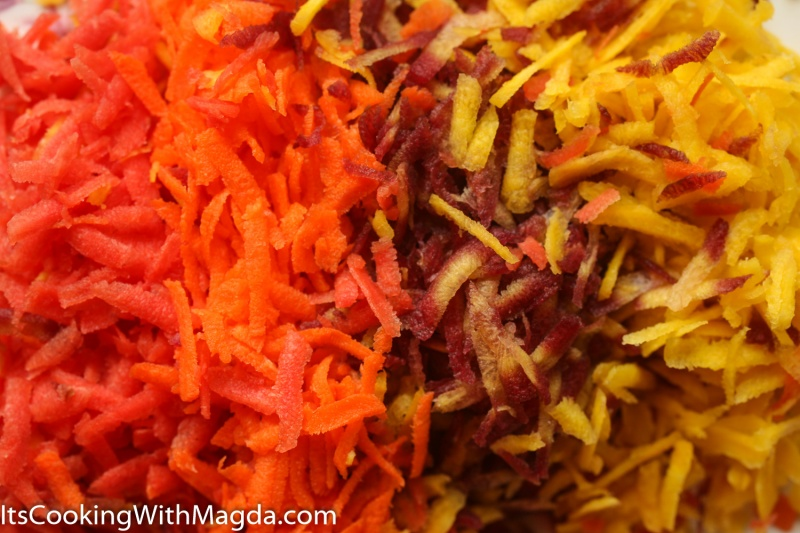 Close up of colorful grated rainbow carrots