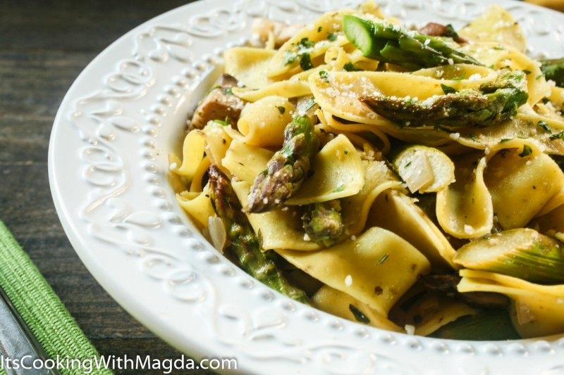 Lemon Pappardelle pasta on a white plate