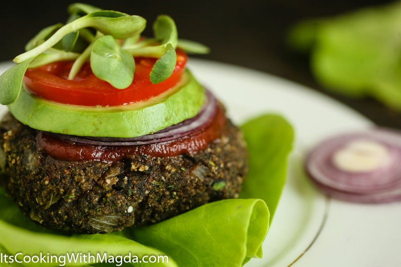 mushroom and jalapeno burger with ketchup, avocado, butter lettuce