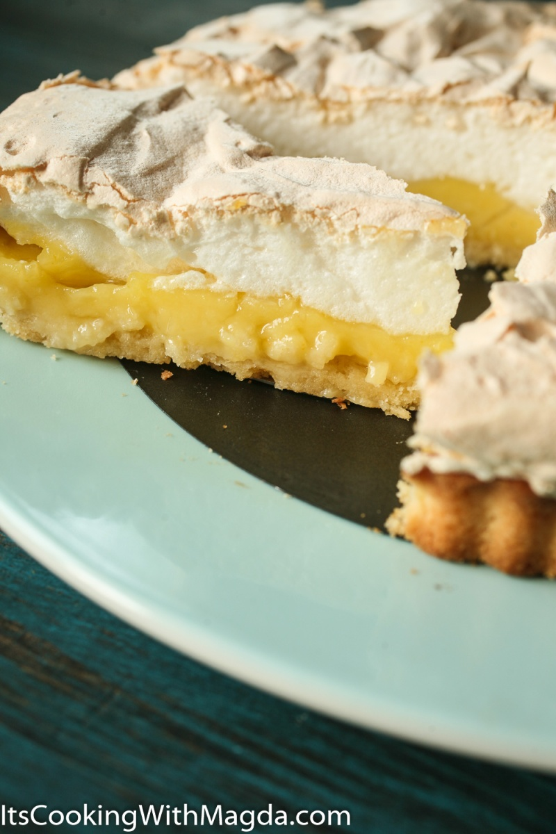 a slice of Meyer lemon meringue tart