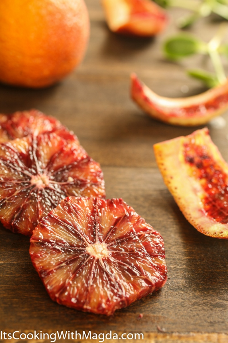 Blood orange peeled and sliced across