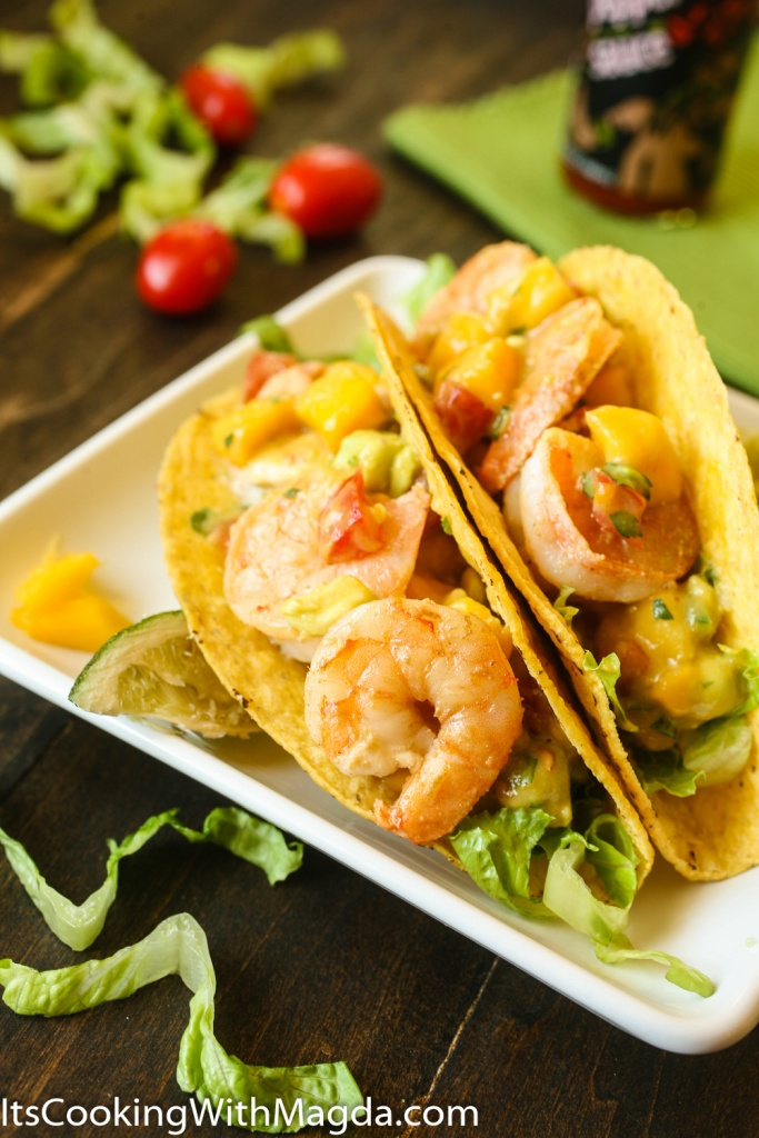 shrimp tacos with mango, jalapeno salsa