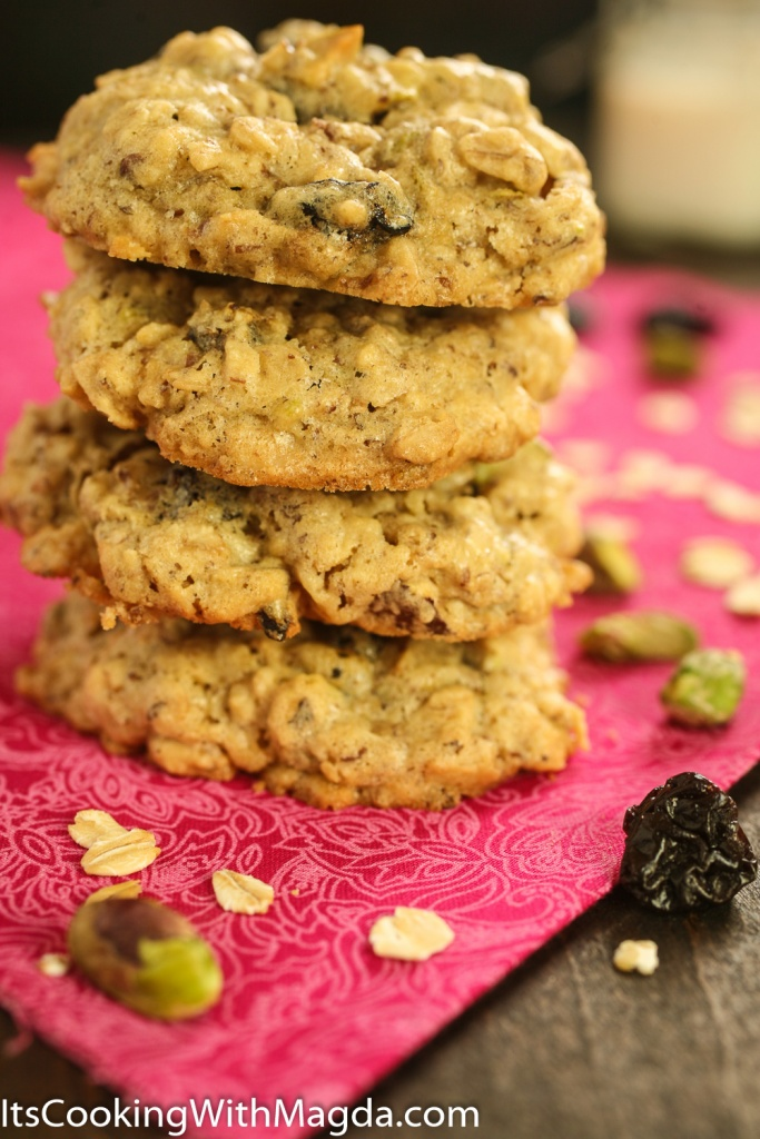 Tower of Cherry Pistachio cookies on a pink cloth