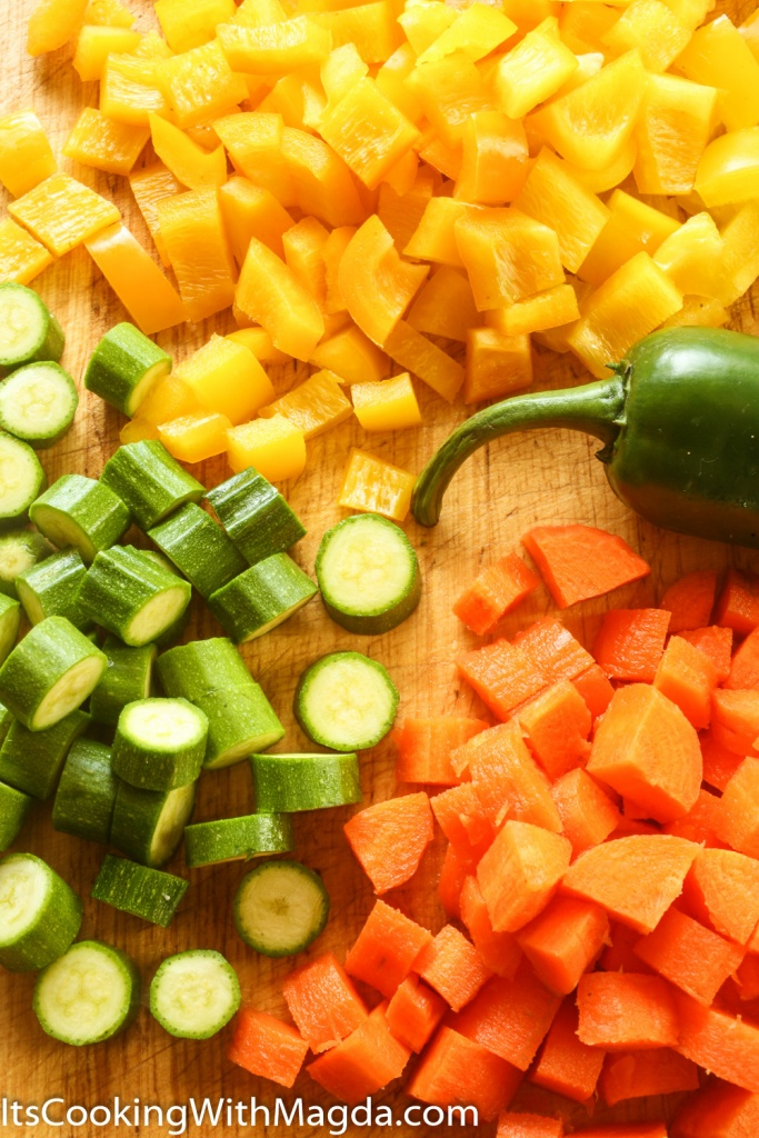 chopped carrot, yellow bell pepper, zucchini and jalapeno
