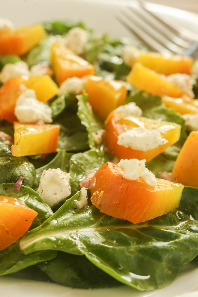 Mixed greens with roasted golden beets and goat cheese