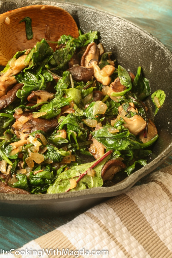 shiitake mushrooms sauteed with baby kale and spinach