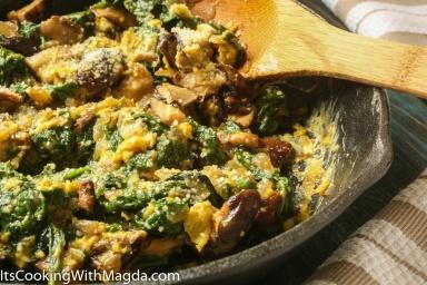 eggs sauteed with shiitake mushrooms and baby greens