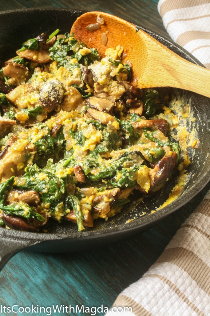 Eggs with sauteed mushrooms and greens