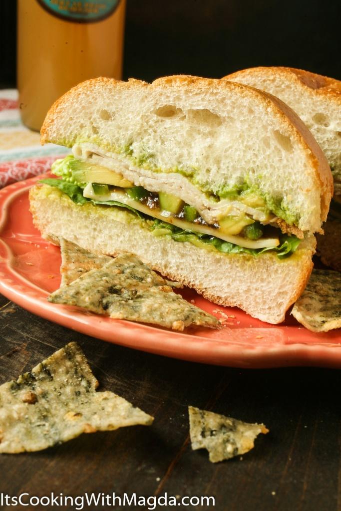 Turkey sandwich with avocado, jalapeno and fig preserve