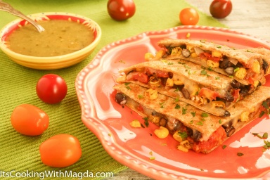 veggie and cheese quesadillas with salsa verde on a side