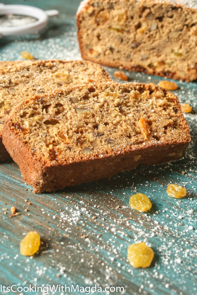slices of banana bread with walnuts and raisins