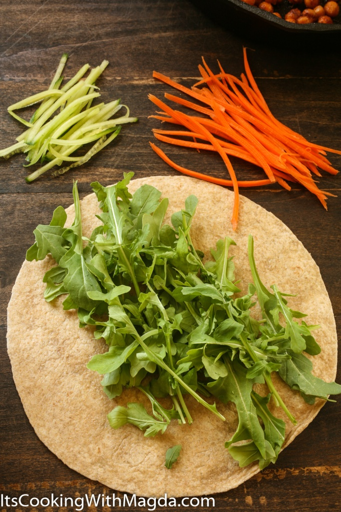 Arugula on a whole wheat wrap