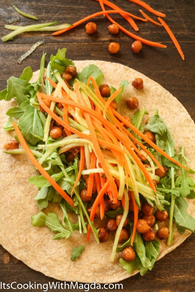 julienned veggies on a tortilla