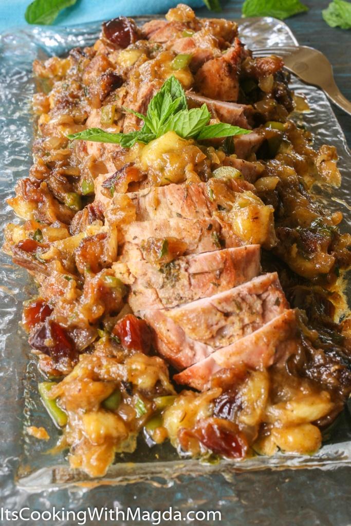 Platter with roasted pork tenderloin and banana-dates chutney