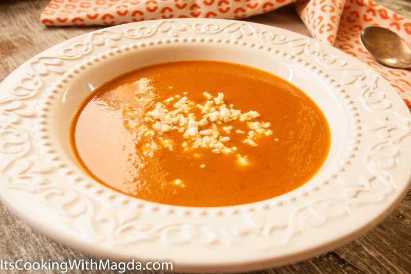 roasted eggplant and tomato soup with goat cheese crumbles
