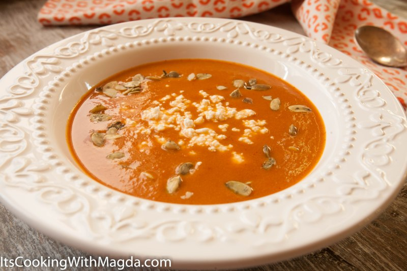 a serving of roasted eggplantand tomato soup