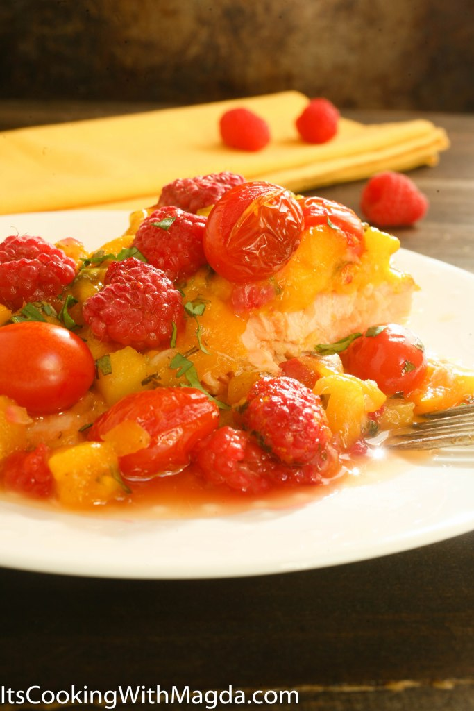 baked salmon with fruity salsa and fresh raspberries