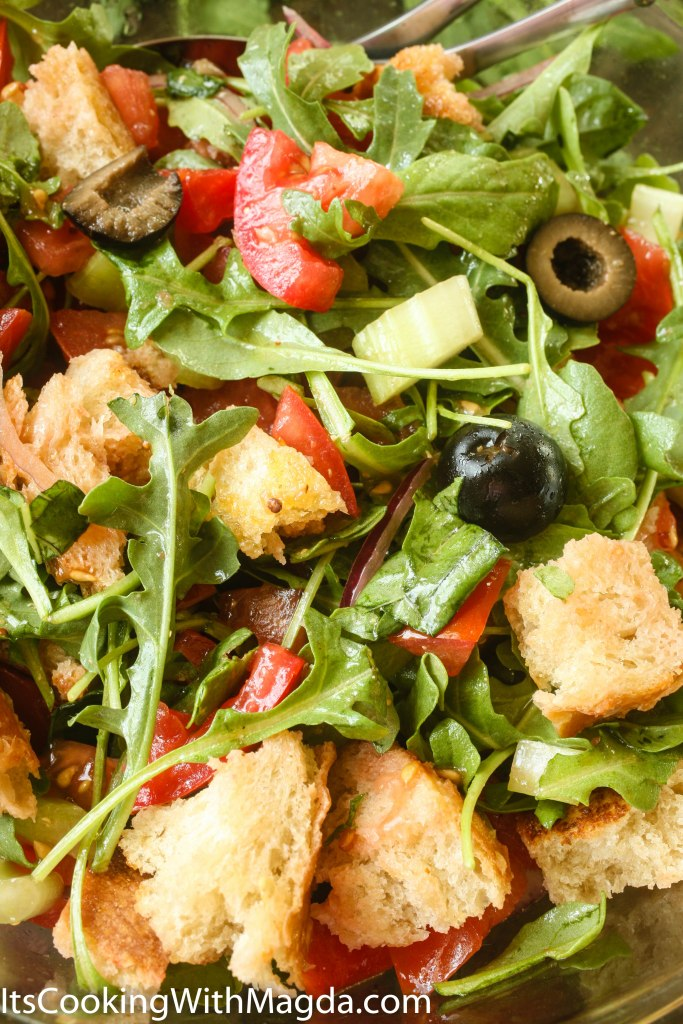 Panzanella Salad in a bowl