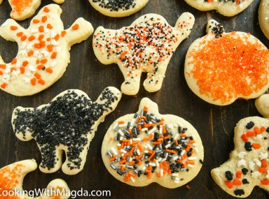 Halloween cookies decorated with sprinkles