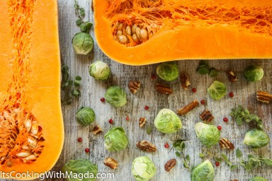 halved butternut squash, Brussels sprouts, pecans