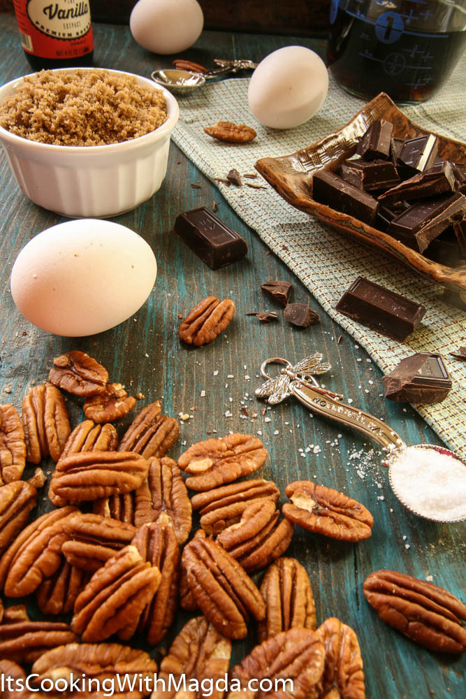 pecans, chocolate, eggs, sugar and salt