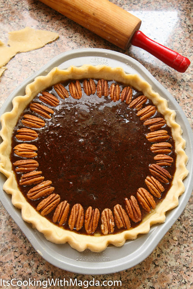 Partially decorated Pecan pie