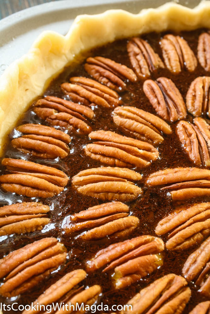 Pecans on top of Chocolate Pecan pie