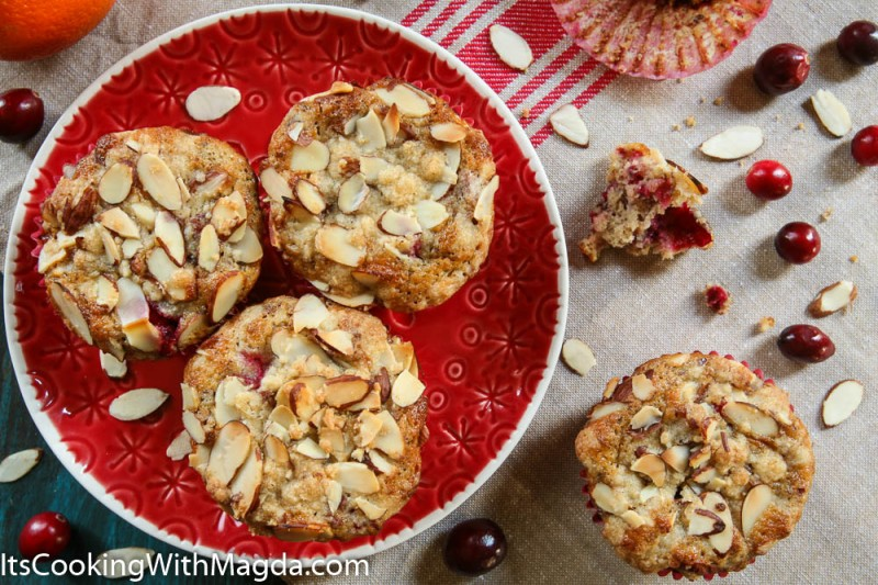 Cranberry muffins with orange zest and almond flakes