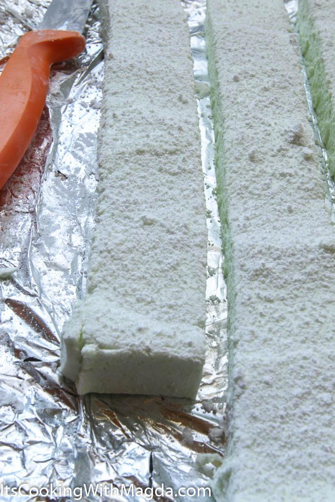 marshmallow block cut into 1 inch stripes