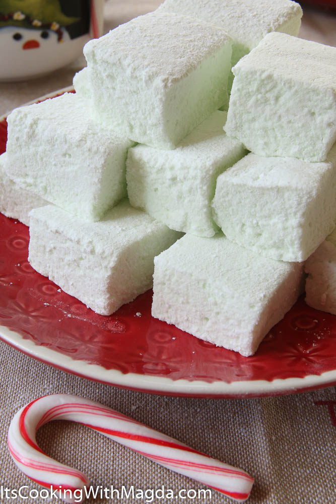 Peppermint marshmallows on a red plate
