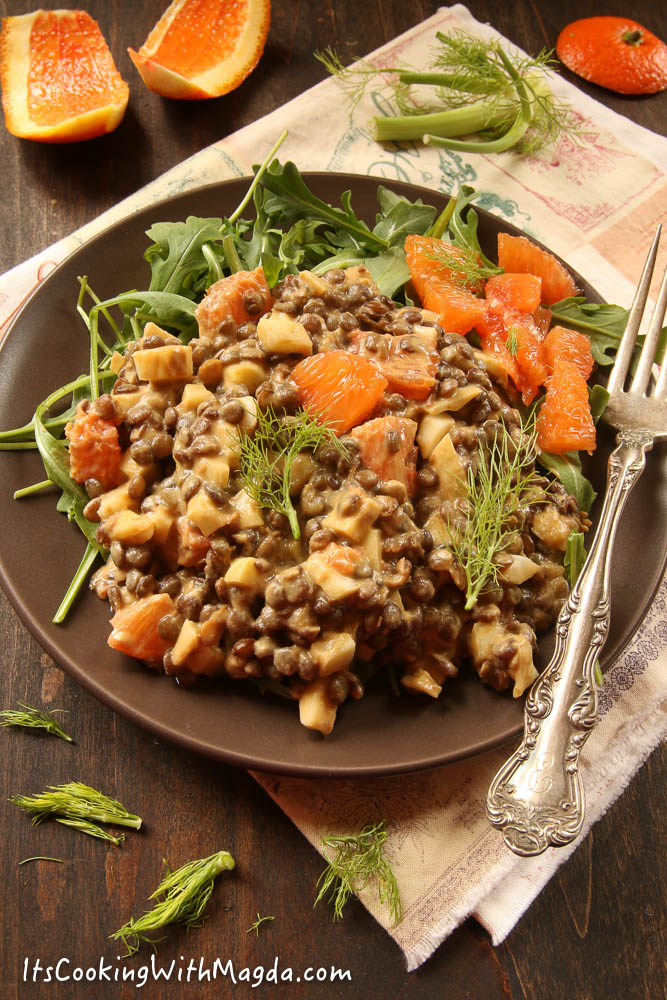 french lentils, fennel and cara cara orange salad with tahini dressing