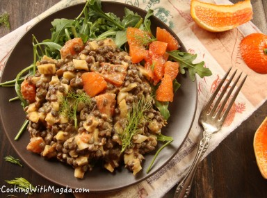 french lentils, cara cara orange, fennel salad with arugula and tahini dressing
