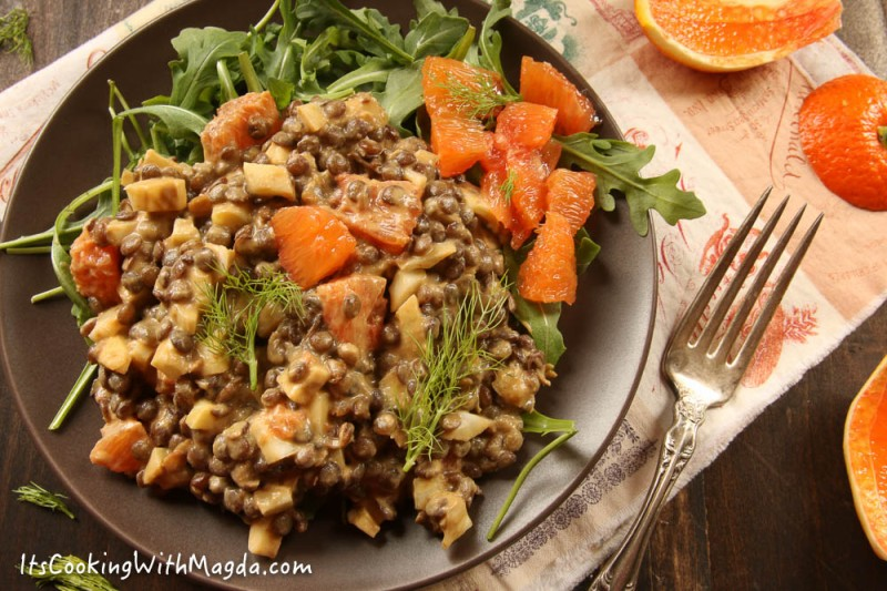 orange, lentil, fennel salad with tahini dressing