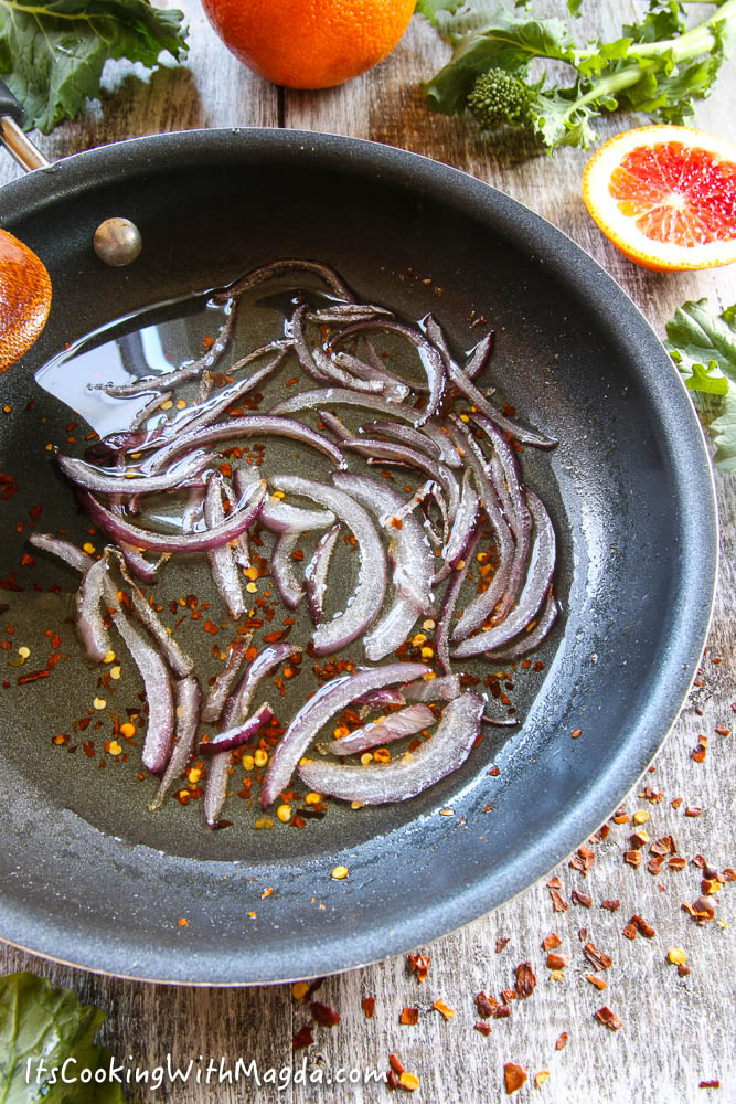sliced red onion cooked with red pepper flakes in olive oil