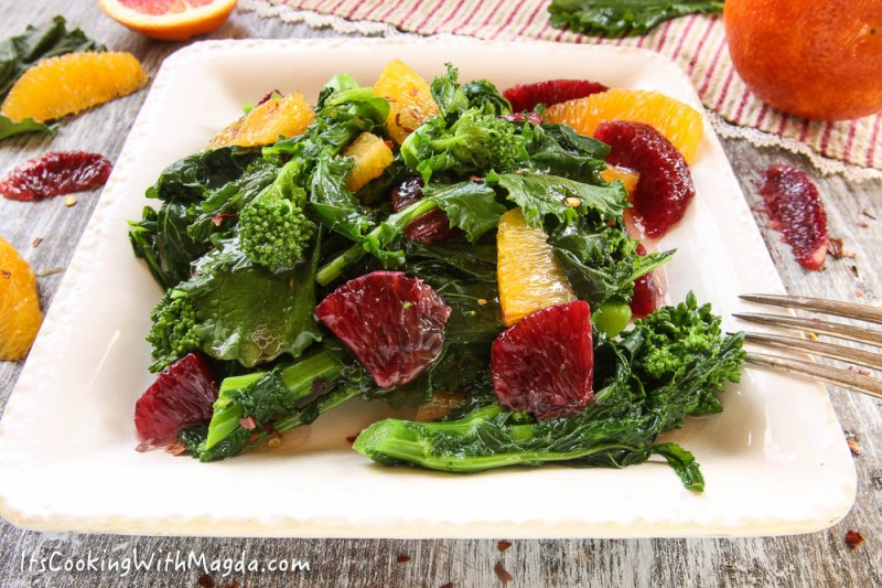 a salad of oranges and blanched broccoli rabe