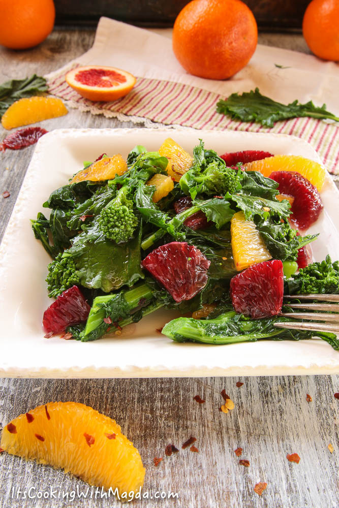 broccoli rabe with blood orange pieces and spicy dressing