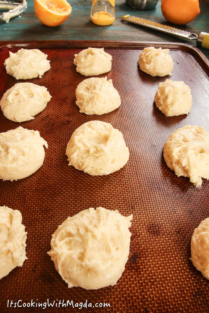 lemon ricotta cookies on a baking pan