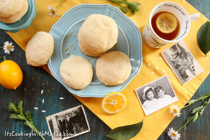 ricotta lemon cookies on a blue plate