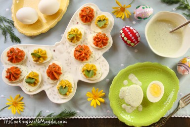 display of Easter deviled eggs