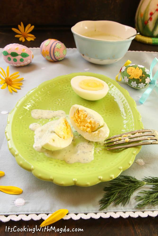 hard boiled egg with feta herbs sauce