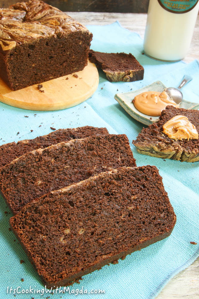 chocolate peanut butter bread with bananas