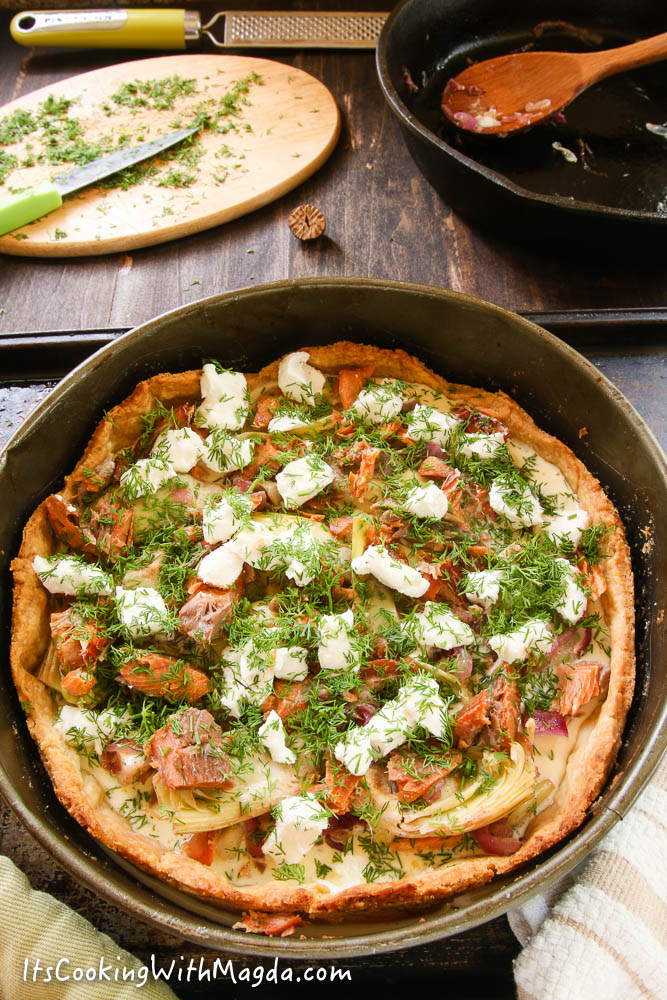 quiche with goat cheese, salmon and chopped dill