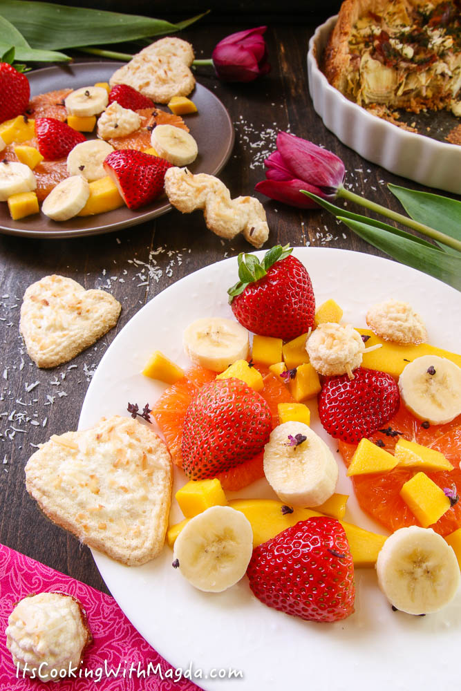 coconut meringues with fruit salad