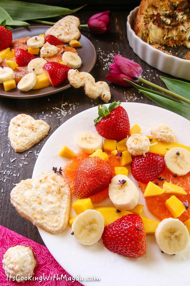 coconut meringues with fruit salad