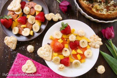 tropical fruit salad with coconut meringues
