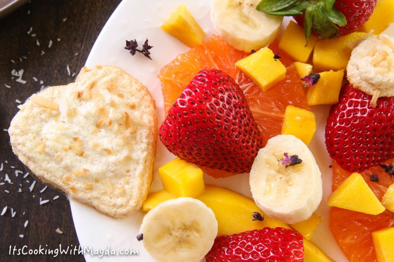 fruit salad and heart shaped coconut meringues