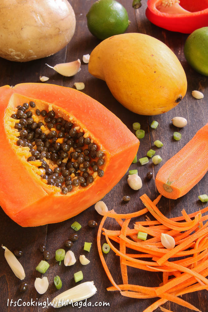 ingredients for Thai chicken salad with mango and papaya